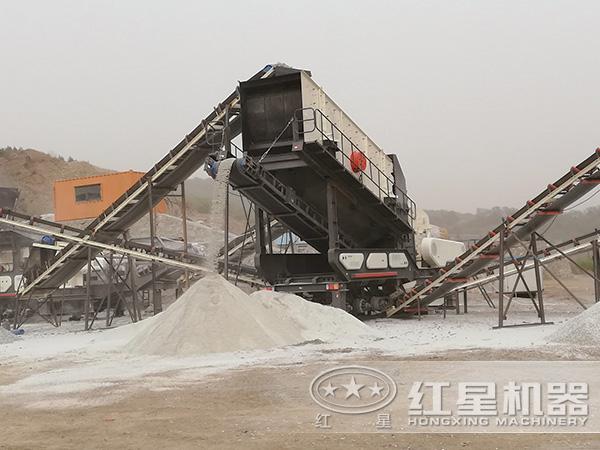 时产200吨移动破碎站生产线现场